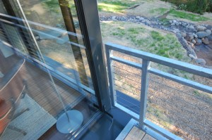 Passive House in the Woods, railing at deck