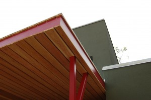 Passive House in the Woods front entry canopy detail