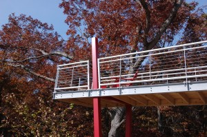Passive House in the Woods, red column