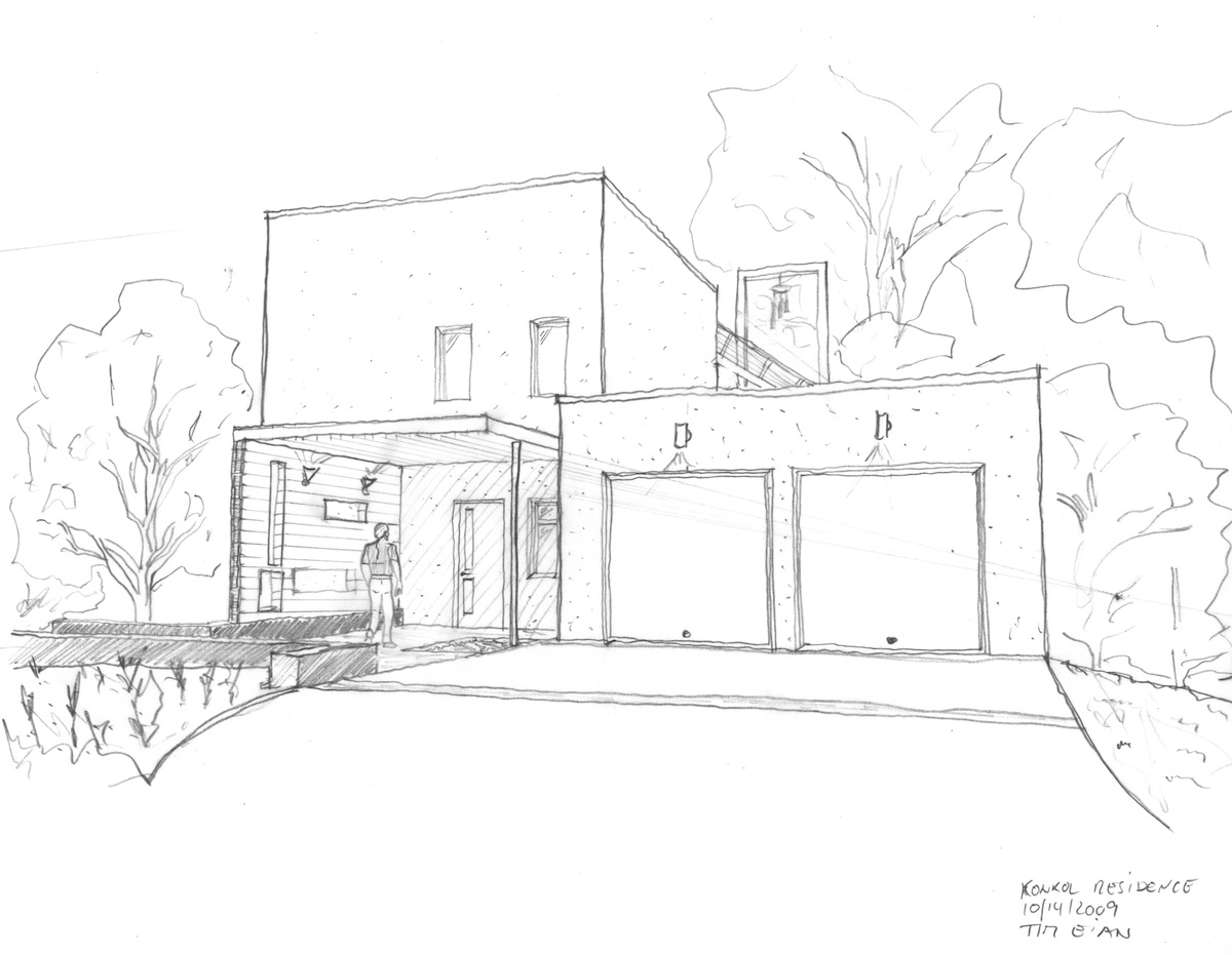 Passive house in the woods for Two story house drawing