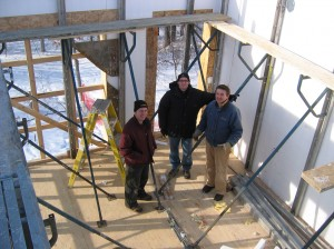 Josh Crenshaw, Tim Eian, Steve Swanson at Passive House in the Woods