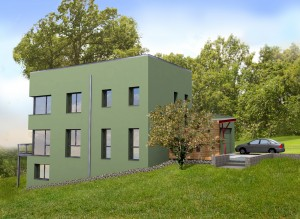 Passive House in the Woods southeast elevation