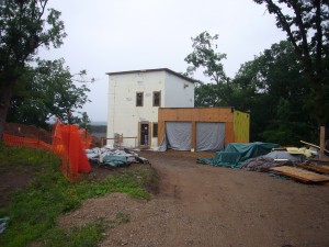 Passive House in the Woods entry facade
