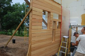 Passive House in the Woods front entry canopy