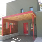 Passive House in the Woods, front entry canopy