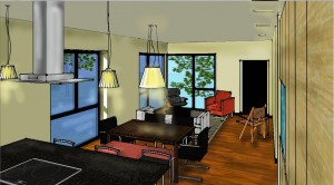 Passive House in the Woods interior rendering