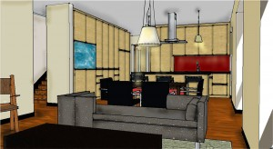 Passive House in the Woods interior rendering 2
