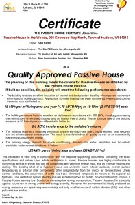 Passive House in the Woods, Quality Approved Passive House