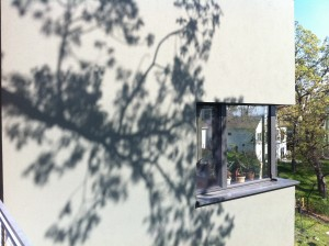Passive House in the Woods: Shadows on Stucco Facade