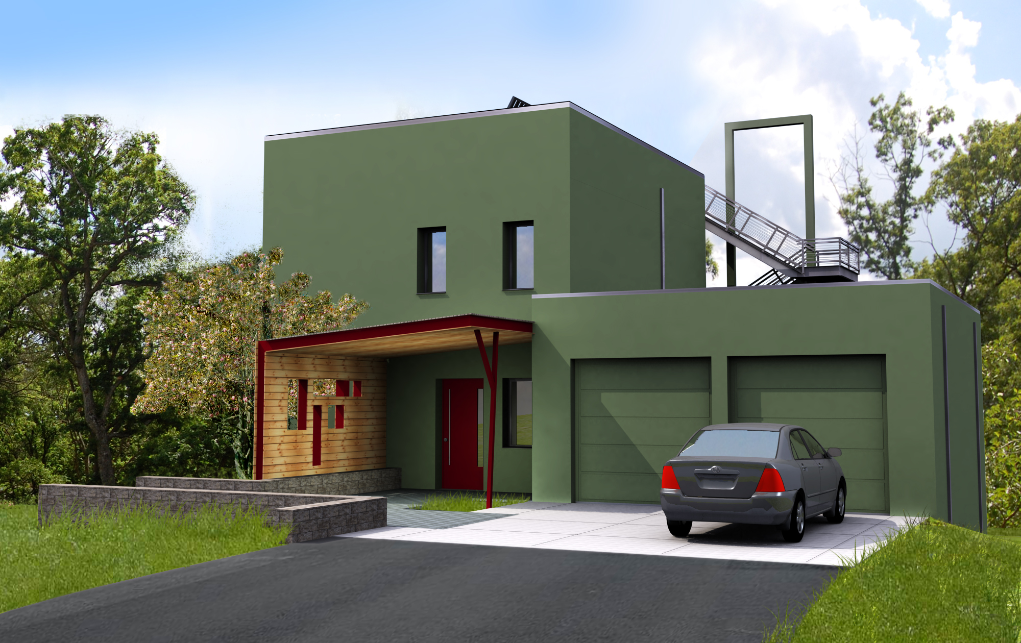 Pive House In The Woods Front Perspective Rendering