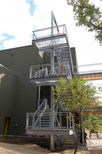 Passive House in the Woods, rear stairwell